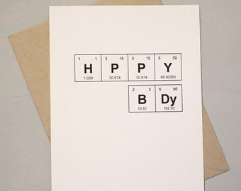 "Happy Birthday Card Periodic Table of the Elements ""HPPY BDy"" Sentimental Elements Card / Bday Card for Science Lover / Chemistry Lover"