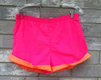90s pink orange neon summer shorts