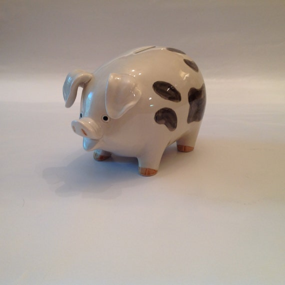 Piggy Bank Vintage Oci Large Porcelain Piggy Bank White With