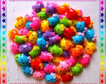 Kawaii Hello Kitty Resin Flatbacks .. ( Hello Kitty Cabochons,Hello Kitty Accessories, Hello Kitty Charms, Hello Kitty Jewelry Findings )