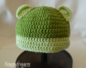 6-12 month crochet bear hat in shades of green.