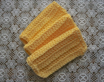 Set of 3 Dishcloths Bright Yellow Washcloths Face Cloths 100% Cotton