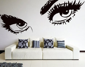 Vinyl Wall Decal Womens Eyes Silhouette / Sexy Teens Face Art Decor Removable Home Sticker / DIY Mural + Free Random Decal Gift!