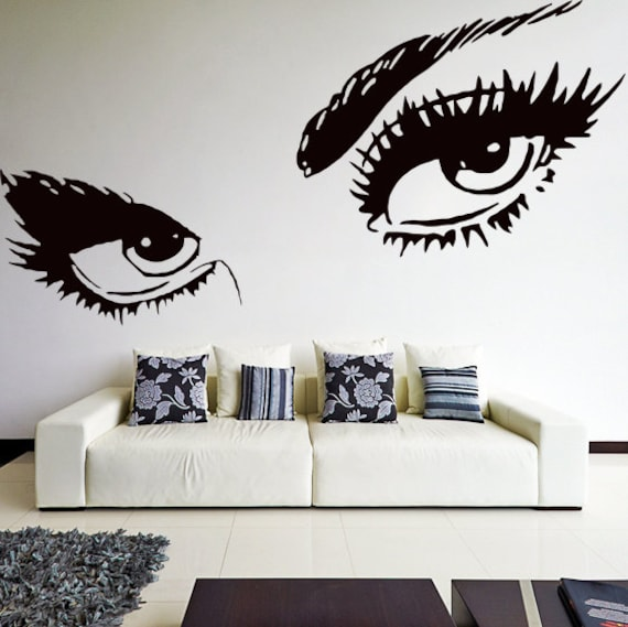 Vinyl Wall Decal Womens Eyes Silhouette Sexy Teens Face Art - How to make vinyl wall decals with silhouette