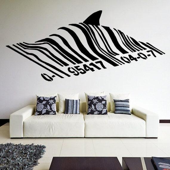 banksy vinyl wall decal barcode shark swimming fish under. Black Bedroom Furniture Sets. Home Design Ideas