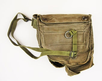 Army Green Heavy Canvas Bag With Two Straps - Re-purposed Gas Mask Bag From the 1960s - Built-in Pocket - Metro Shopping or Backpacking