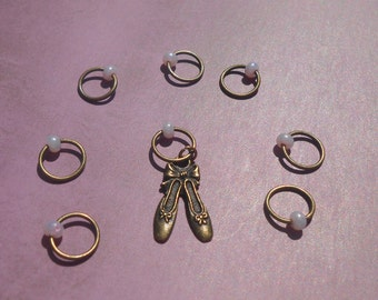 Ballet Shoes Stitch Markers for Knitting