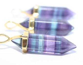 Fluorite Necklace Fluorite Pendulum Necklace Silver Fluorite Gemstone Necklace
