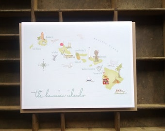 Hawaiian Islands Map Note Cards - Set of 6