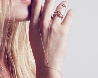 Filigree Chain Linked Ring Bracelet, 14k Gold Filled Hand Jewelry, Hand Flower