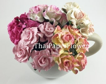 15 Pink Mixed Curly Mulberry Paper flower roses scrapbook card making home decor wedding craft supply G2/00