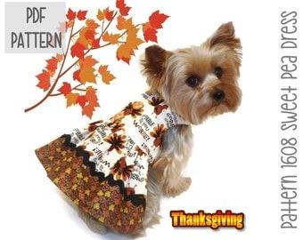 Thanksgiving Dog Dress SEWING PATTERN * 1608 Sweet Pea Dog Dress * Dog Harness Dress * Pet Dress * Dog Apparel * Designer Dog Dress