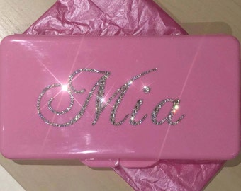 Swarovski Crystal Personalised Baby Wipes Case