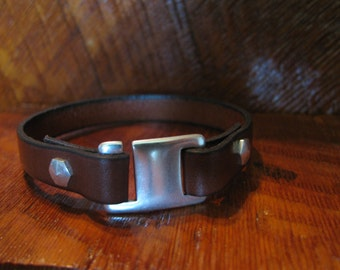Back In Stock! Men's Brown Leather Bracelet-Genuine Italian Leather Wrap Bracelet- Single Wrap