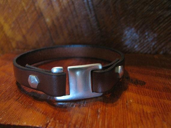 Back In Stock! Men's Brown Leather Bracelet-Genuine Italian Leather Wrap Bracelet- Single Wrap