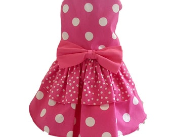 Dog Dress, Dog Clothing, Dog Wedding Dress, Pet Clothing, Dog Attire, Pet Dress -  Pink Polka Dots