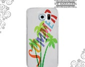 Clear TPU Case Back Cover Protection for iPhone and Galaxy Devices - Summer Palm Tree UV0060