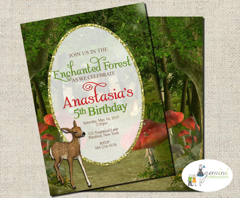 Enchanted Forest Invitation Woodland Invitation Printable