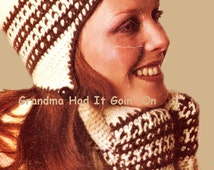 Vintage Ski Helmet Hat & Mitten Crochet Pattern - Tie Cap Toque - PDF Instant Download - Digital Pattern - Winter Gloves - Flap Ears Hat