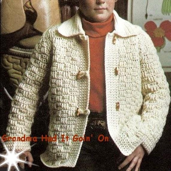Vintage Childrens Crochet Toggle Jacket Duffel Sweater Coat