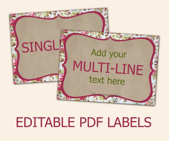 Editable labels for mason jars floral craft paper tags label editable labels for mason jars floral craft paper tags label template editable tags editable pdf printable diy label design pronofoot35fo Images