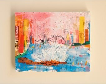 SYDNEY CANVAS ART, Opera House Sydney Harbour Bridge Signed Print, Watercolor Painting Clare Caulfield, Australia Wall Art, City Skyscrapers