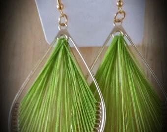 Lime Green Thread Earrings