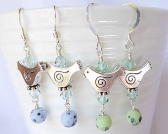 Little Birdie Charm Earrings; spring earrings; bird earrings