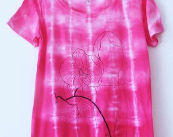 Women's tie dyed screen printed t shirt M