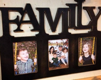 Unfinished (TRIPLE FAMILY) Whimsical Picture Frame Wooden Paintable