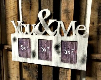 Unfinished (TRIPLE YOU&ME) Whimsical Picture Frame Wooden Paintable