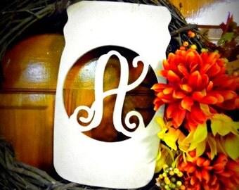 Monogram Letter, Door Hanger, Framed Letter, Wood Letter, Mason Jar Monogram