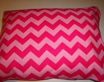 Pink Chevron Travel Pillow Case or Sham