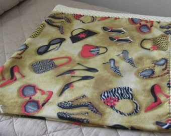 Fashion Boutique-Shoes, Purses, Sunglasses- Anti Pill Fleece Blanket With Crochet Border-Free Standard Shipping