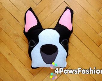 ZOE black Boston Terrier felt pillow  stuffed plush toy OOAK/ 4PawsFashion