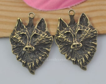 10pcs Wolf Head Charms, 17*32mm Antique Brass Wolf Head Charms Pendant, Wolf Charms Pendant