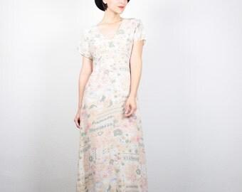 Vintage 90s Dress Gauze Midi Dress 1990s Dress Maxi Dress Cream Floral Print Babydoll Dress Soft Grunge Dress Boho Sundress M L Large XL