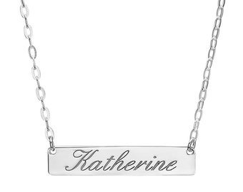 Personalized Sterling Silver Name Bar Pendant