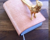 Pale pink/ natural 100% Tooled Leather Revised New World Translation Bible Cover