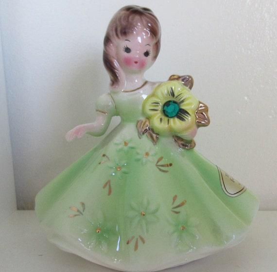 Vintage Josef Originals Porcelain Figurine May Birthstone