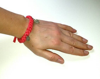 Red bracelet with 2 silver leaf charms