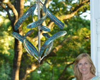 Morning Glory Copper Kinetic Wind Sculpture