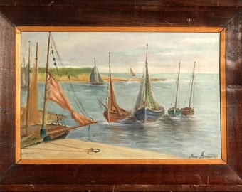 Rare ca.1935 French Sailing Boats Seascape Oil Painting w/Frame Signed