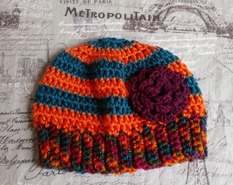 Sweet Simple Hat with removable purple flower