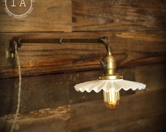 Vintage Industrial OC White Telescoping Wall Mount Lamp Milk Glass Shade