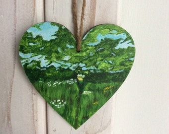 SALE~Hand painted heart..Springtime walk. 10cm ply heart. Mother's Day or a Easter gift.