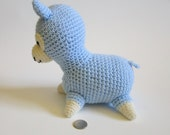 Blue and White Crochet Llama, Baby Crochet Toy, Llama Plush, Stuffed Sheep, Alpaca Plush, Stuffed Llamas, Plush Toy, Plushie, Crochet Animal