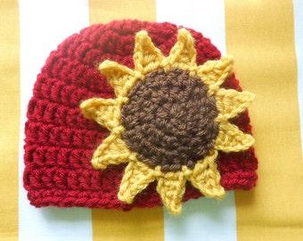 Crochet Sunflower Hat / Newborn Photography Prop / Fall Baby Gift