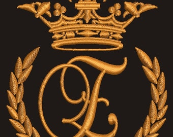 """Crown, laurel wreath and the monogram letter """"E"""" - Machine embroidery design,   design tested."""