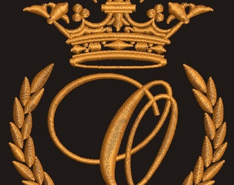 """Crown, laurel wreath and the monogram letter """"O"""" - Machine embroidery design,   design tested."""